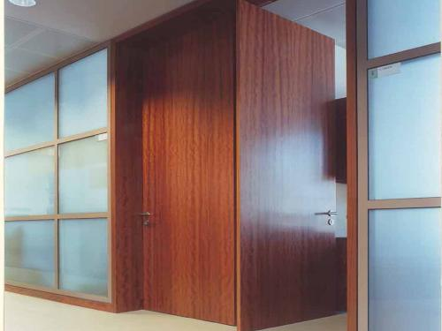 Glass partition system with full height doors