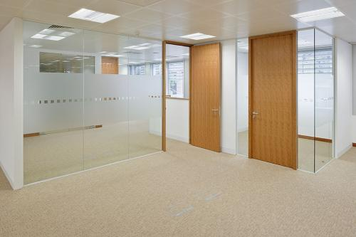 Single glazed partition system office fronts