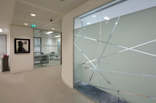 Single glazed partition system with graphics